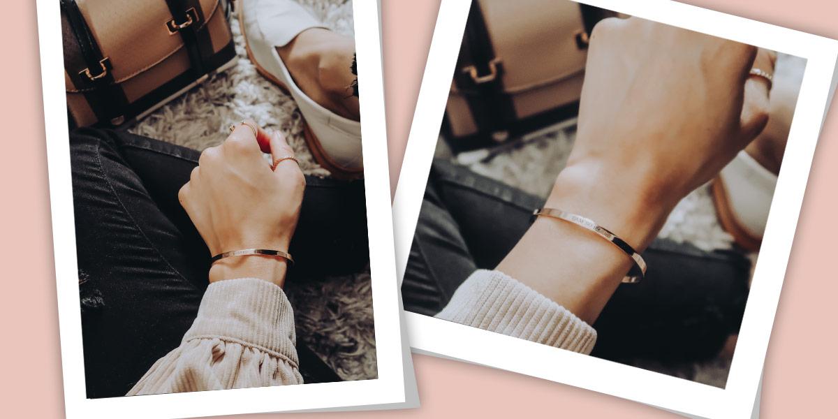 18k Gold-Plated Engraved Bangle Bracelet