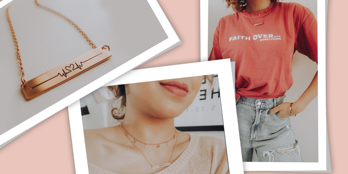 Heart Beat Bar Necklace in Rose Gold Plating