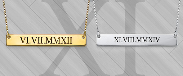 Roman Numeral Date Necklaces – No Converter Needed