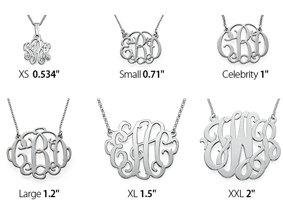 Monogram Necklace Size Chart