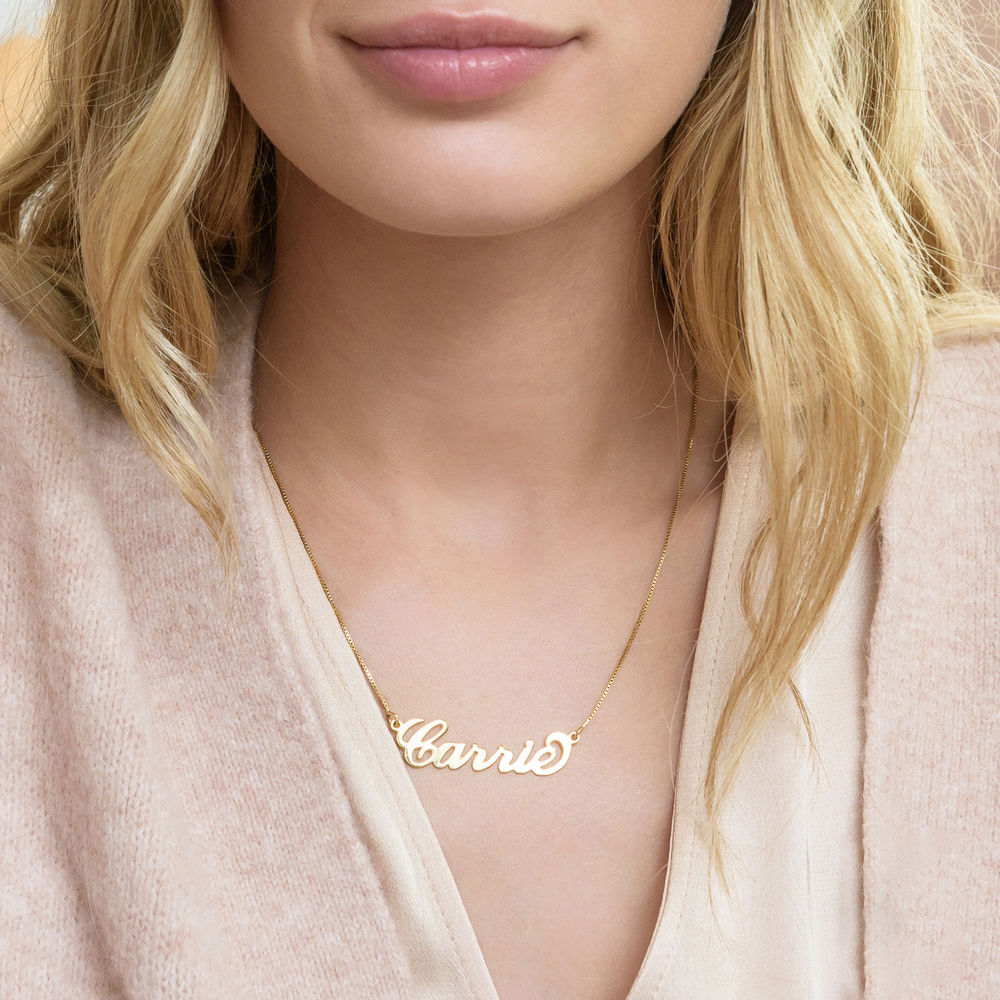 18k Gold-Plated Silver Carrie Name Necklace - 1