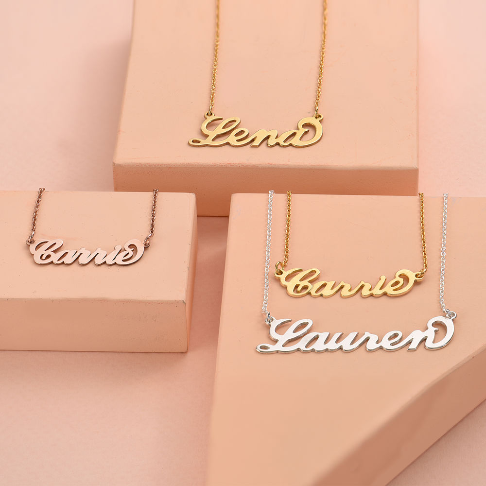18k Gold-Plated Silver Carrie Name Necklace - 3