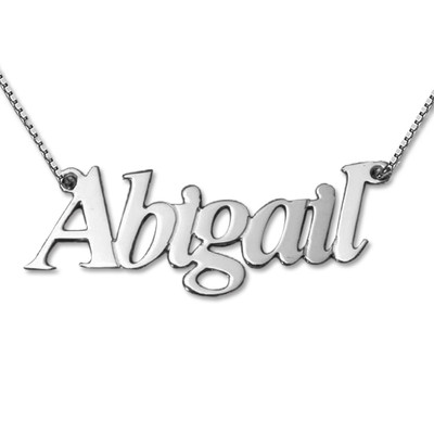 Lovely Personalized 14k White Gold Name Necklace