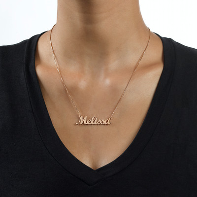18k Rose Gold Plated Script Name Necklace - 1