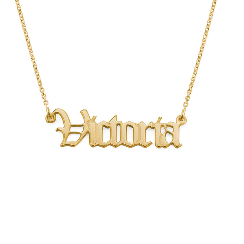 18k Gold-Plated Silver Old English Name Necklace - 2