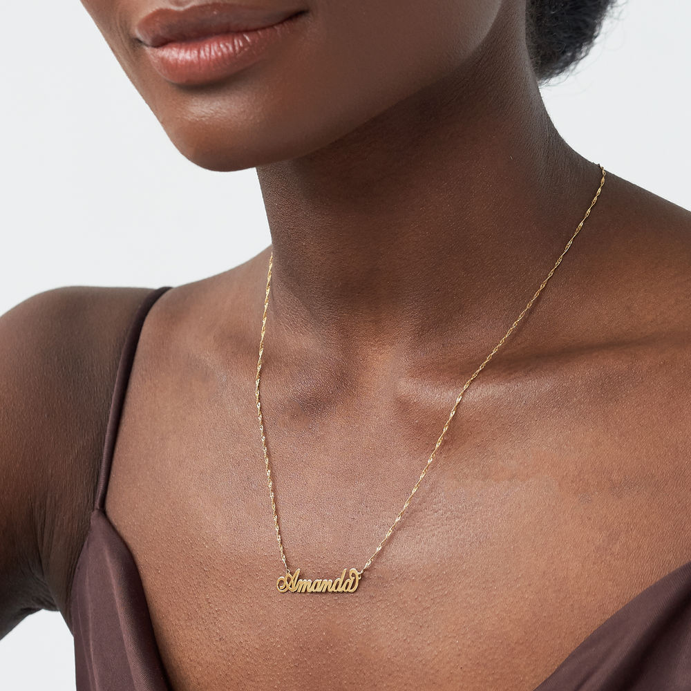 Small 14k Gold Carrie Style Name Necklace - 3