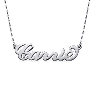 Small Sterling Silver Carrie Style Name Necklace