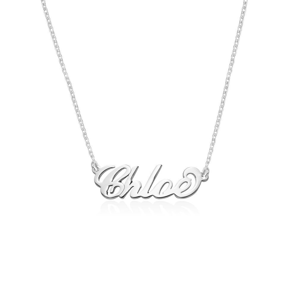 Small Sterling Silver Carrie Style Name Necklace - 1
