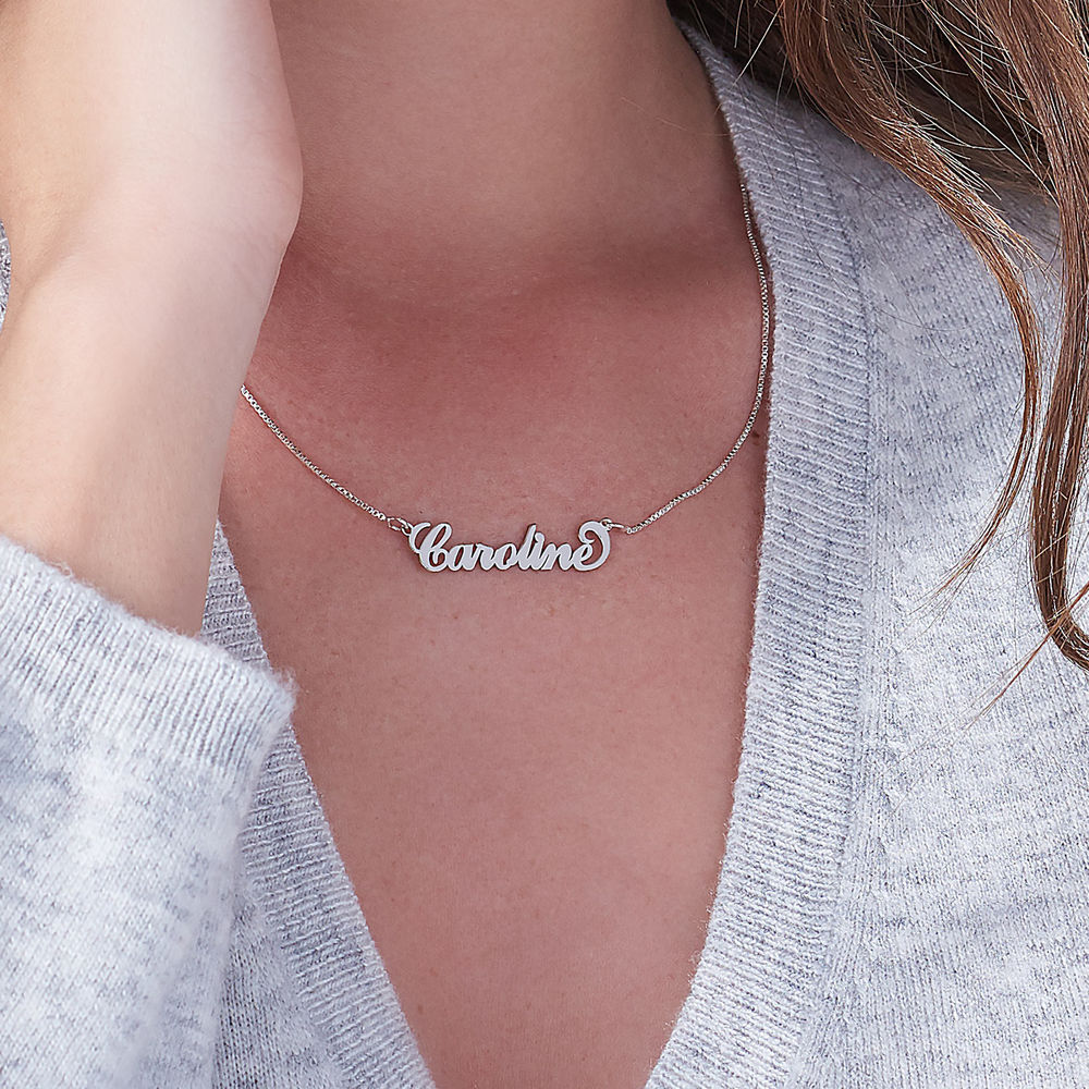 Small 14k White Gold Carrie Style Name Necklace - 2