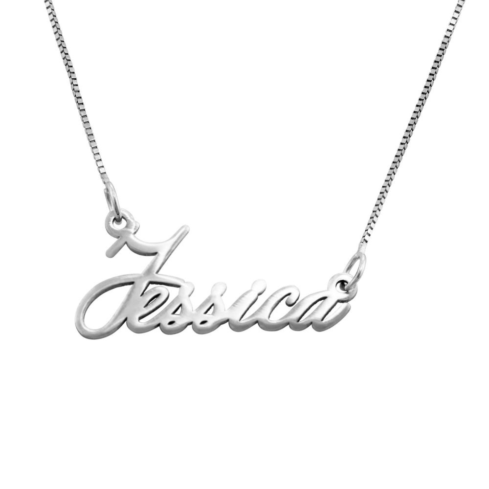 14K Tiny White Gold Name Necklace