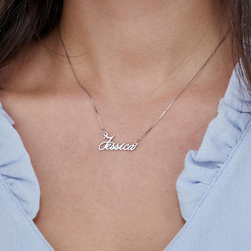 14K Tiny White Gold Name Necklace - 2