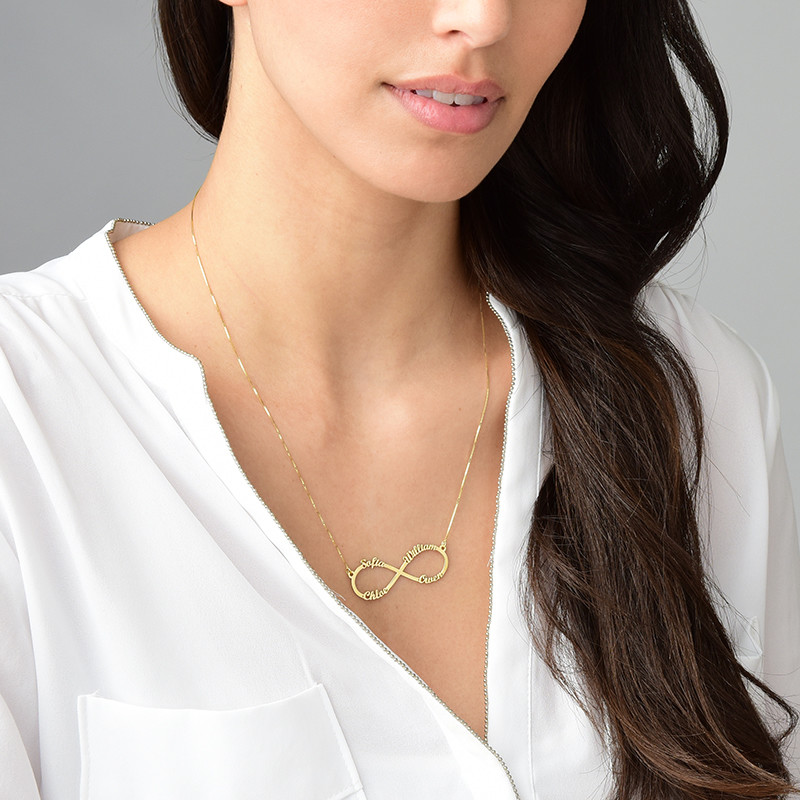 Infinity 4 Names Necklace - 14K Gold - 3