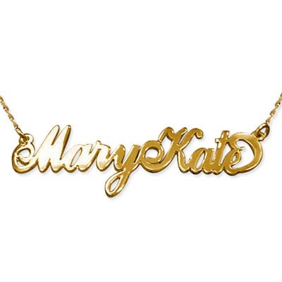 Two Capital Letters 14k Gold Carrie Style Name Necklace