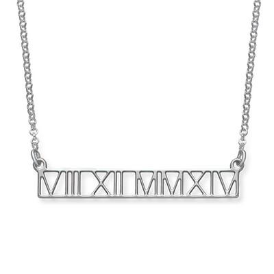 Roman Numeral Bar Necklace - Cut Out Design