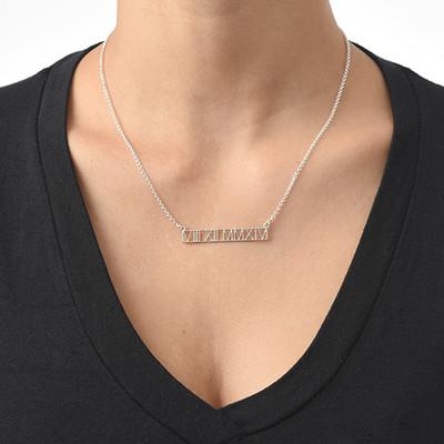 Roman Numeral Bar Necklace - Cut Out Design - 1