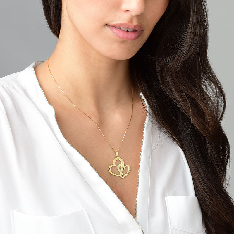Engraved Two Heart Necklace - 14k Gold - 2