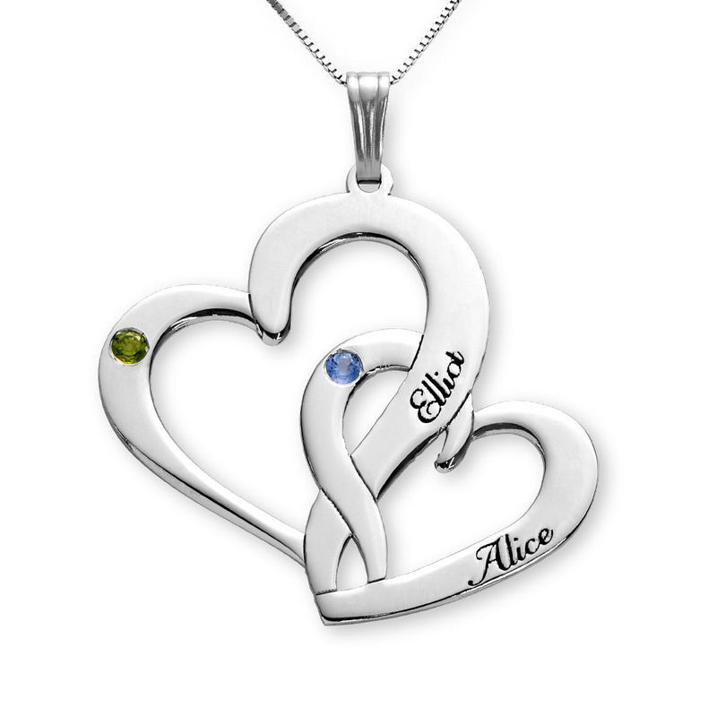 Engraved Two Heart Necklace in 10K White Gold