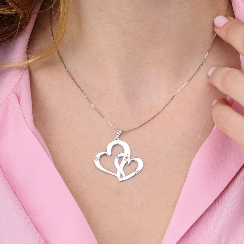 Engraved Two Heart Necklace in 10K White Gold - 2
