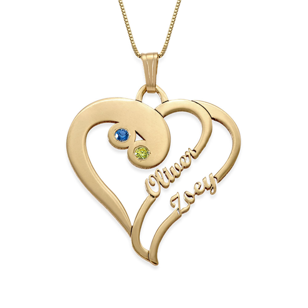 Two Hearts Forever One Necklace in 14k Gold