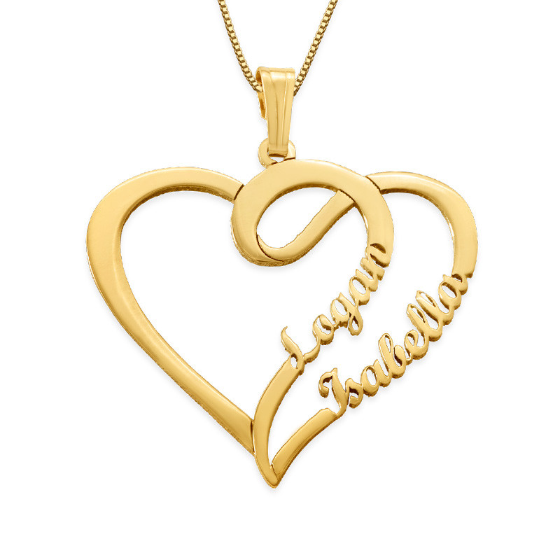 Couple Heart Necklace in 14k Gold