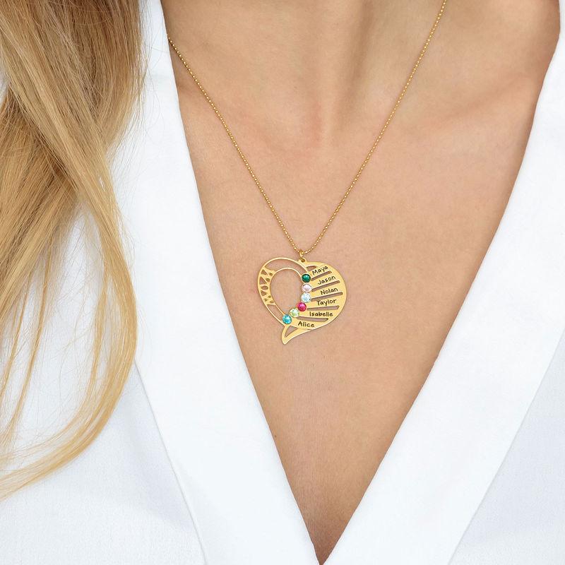 Engraved Mom Birthstone Necklace - 14K Gold - 2