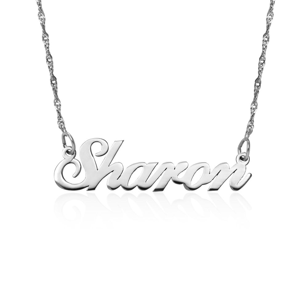 Small Classic Name Necklace in 14k White Gold