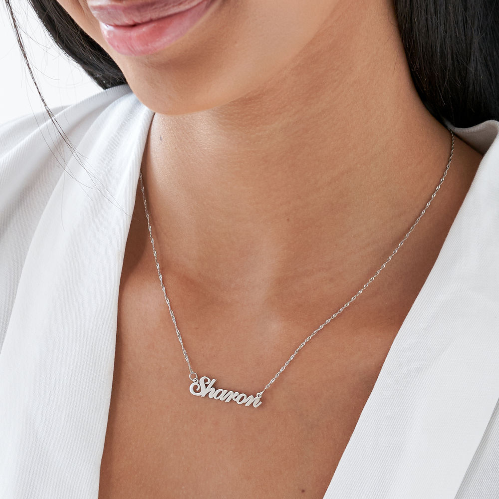 Small Classic Name Necklace in 14k White Gold - 1