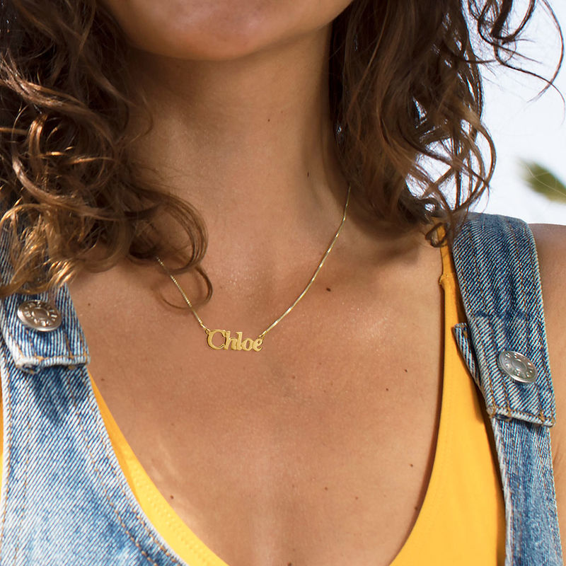 Small 18k Gold Plated Sterling Silver Name Necklace - 1