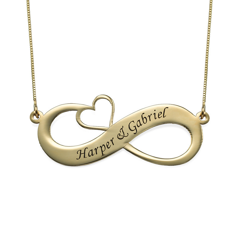 14K Engraved Infinity Necklace with Cut Out Heart