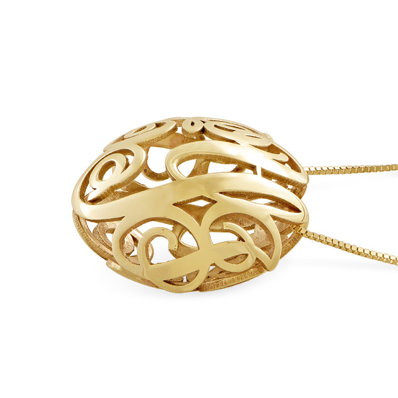3D Monogram Necklace in 14K Yellow Gold - 1