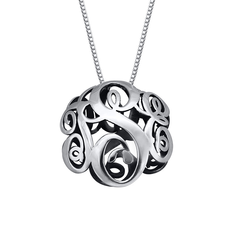 3D Monogram Necklace in Sterling Silver