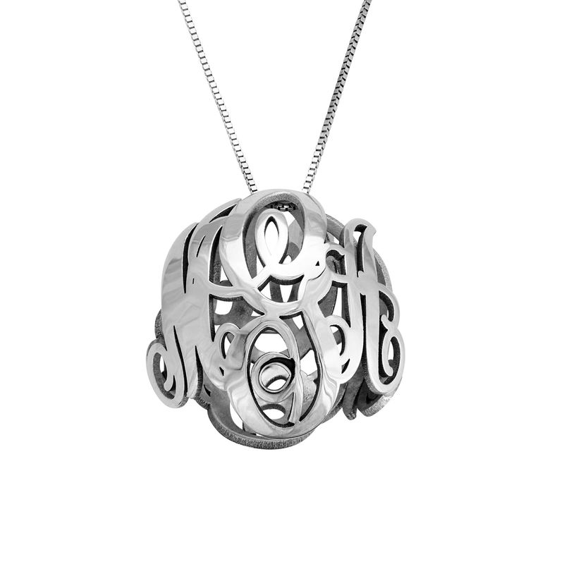 3D Monogram Necklace in 14k White Gold