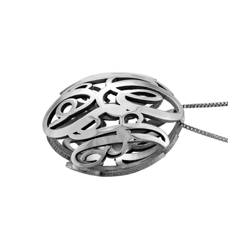 3D Monogram Necklace in 14k White Gold - 1