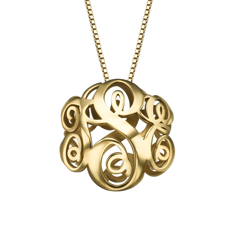 Gold Plated 3D Monogram Necklace