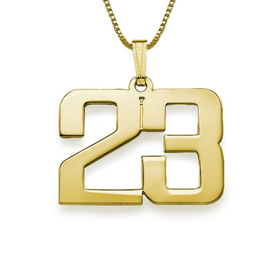 Men's Personalized Number Necklace in Gold Plating