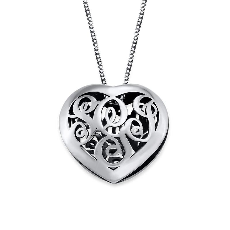 Contoured Silver Monogram Necklace - Heart shape