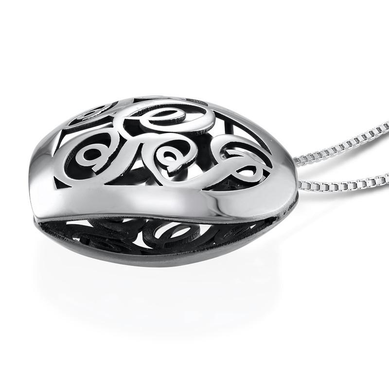 Contoured Silver Monogram Necklace - Heart shape - 1