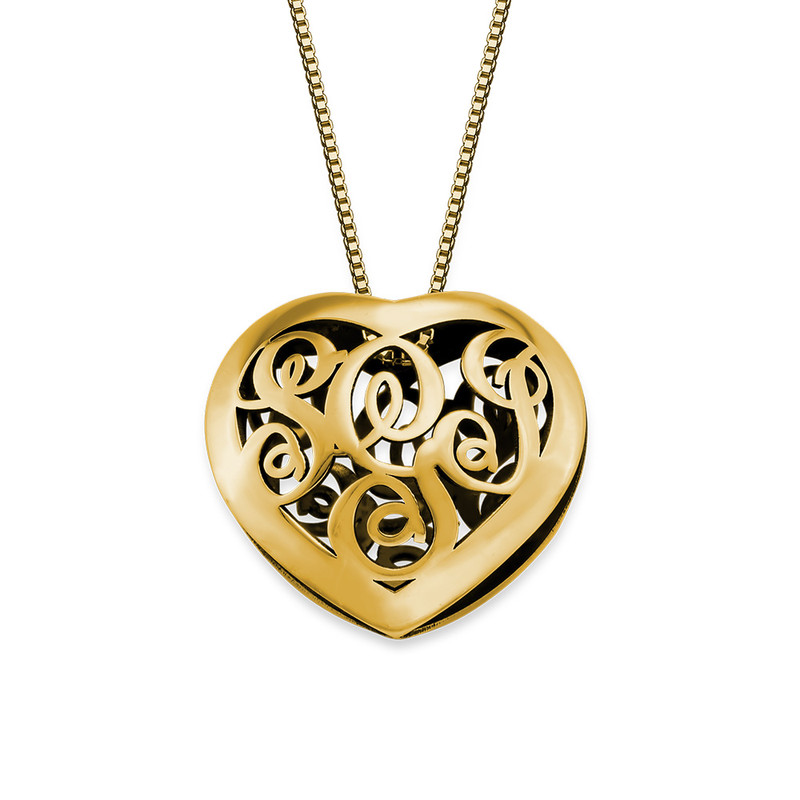 Contoured Gold Plated Monogram Necklace - Heart Shape