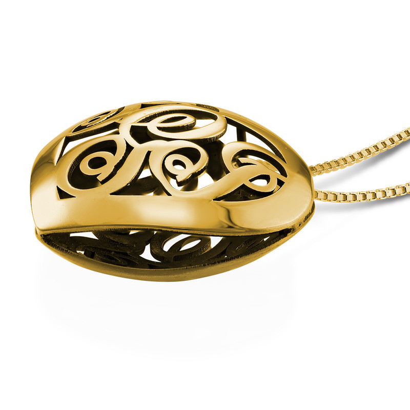 Contoured Gold Plated Monogram Necklace - Heart Shape - 1