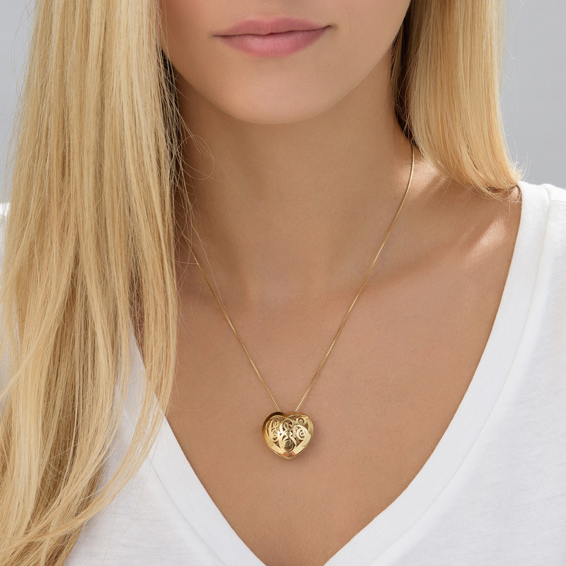 Contoured Gold Plated Monogram Necklace - Heart Shape - 2