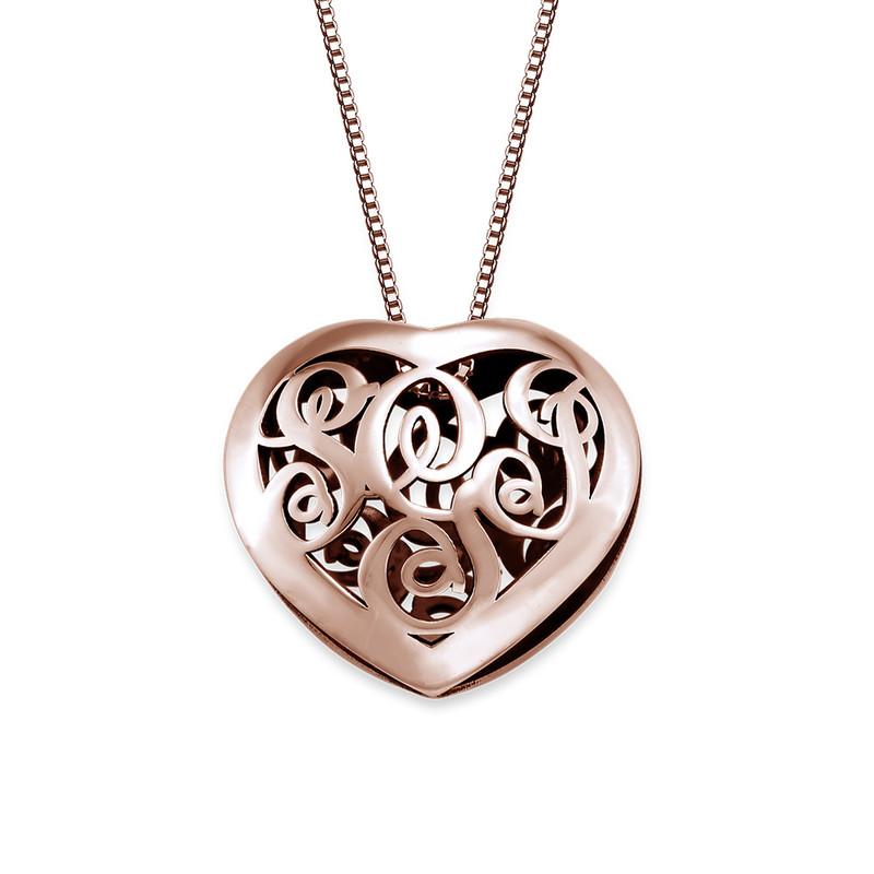 Contoured Rose Gold Plated Monogram Necklace - Heart Shape