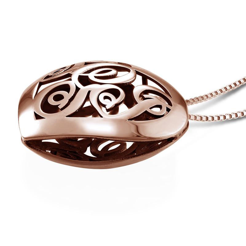 Contoured Rose Gold Plated Monogram Necklace - Heart Shape - 1
