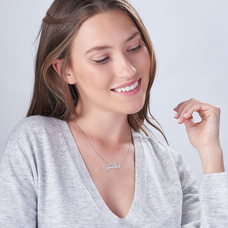 Sterling Silver Double Thickness Name Necklace - 1