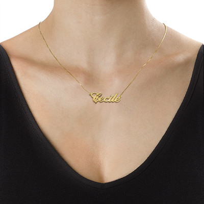 14k Gold and Diamond Name Chain Necklace - 1