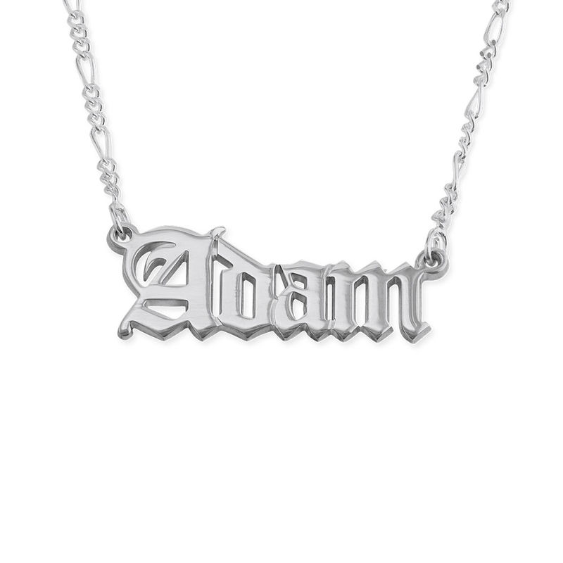 Double Thickness Old English Style Name Necklace for Men