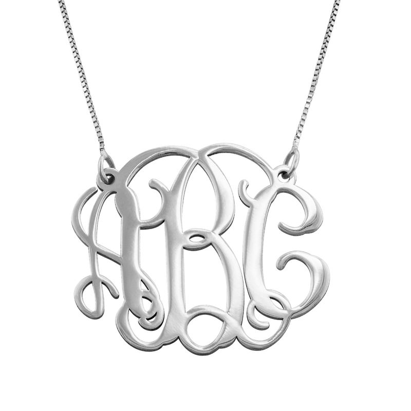 Celebrity Monogram Necklace in 14k White Gold
