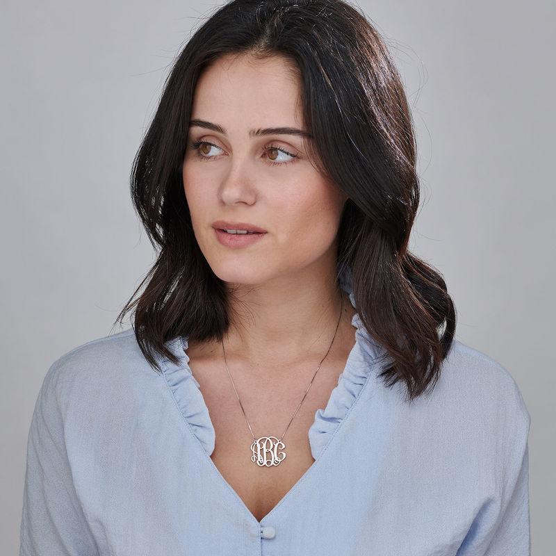 Celebrity Monogram Necklace in 14k White Gold - 1