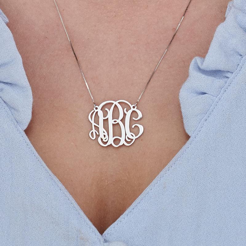 Celebrity Monogram Necklace in 14k White Gold - 2