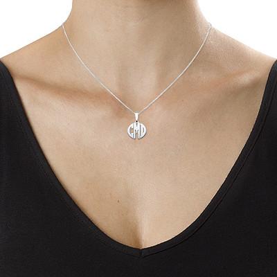 XS Block Monogram Necklace in Silver - 1