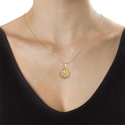 XS Circle Monogrammed Necklace in 18k Gold Plating - 1
